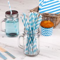 Carnival Blue Paper Straws - Stripes (25)